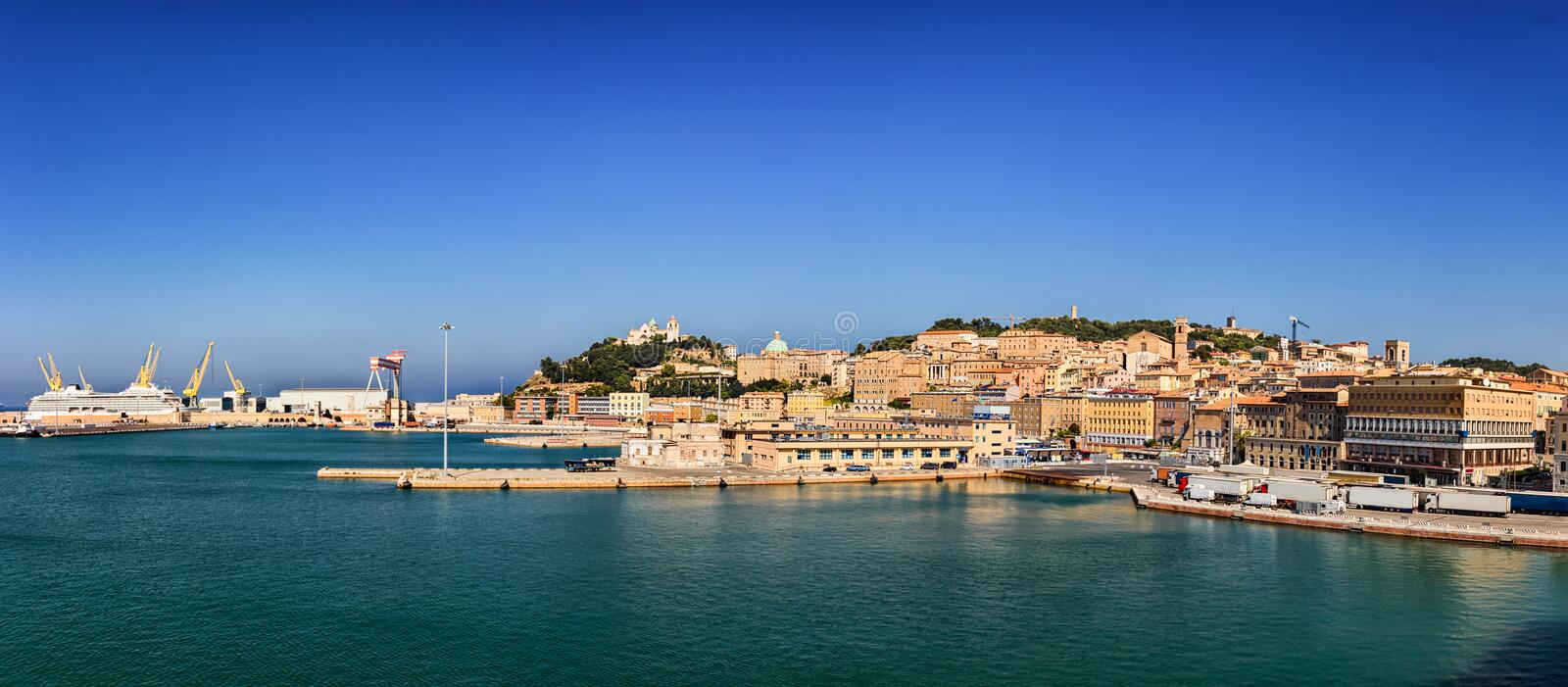 Panoramic view of the port of Ancona in the Marche region, Italy stock images