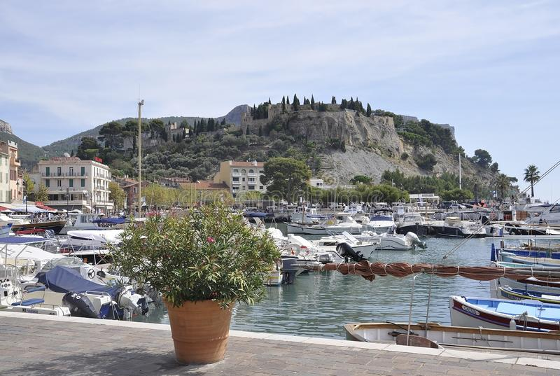 Cassis, 8th september: Panoramic view of the Port from the Bay area of Cassis on Cote D`Azur France royalty free stock photography
