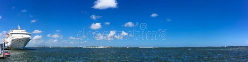 Panoramic view of the Port of Charleston, SC. stock photo