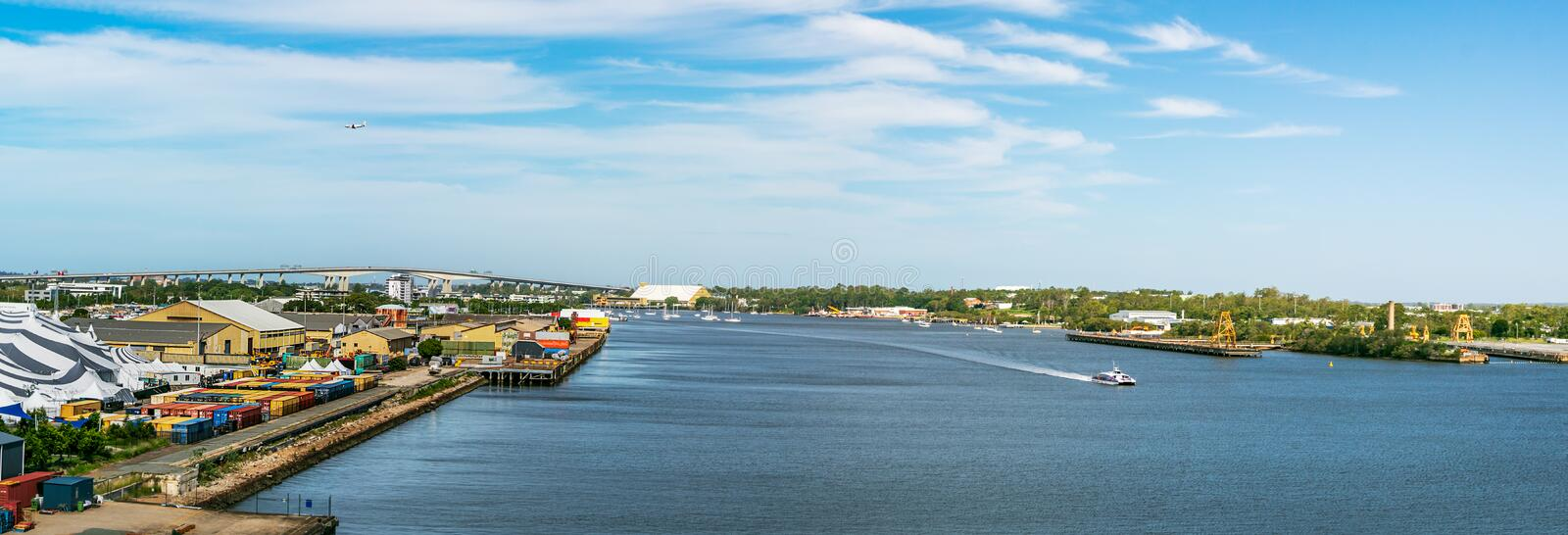 Panoramic view of the port and cruise terminal of Brisbane, Australia.  royalty free stock photo