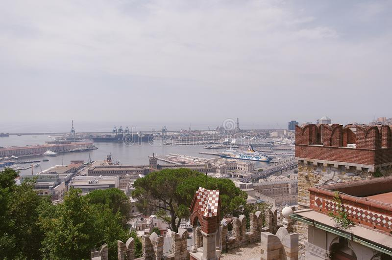 Panoramic view of port in Genoa in a summer day, Italy stock image