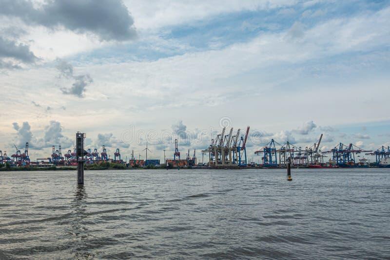 Panoramic view of the port of Hamburg in cloudy weather. A panoramic view of the port of Hamburg in cloudy weather royalty free stock images