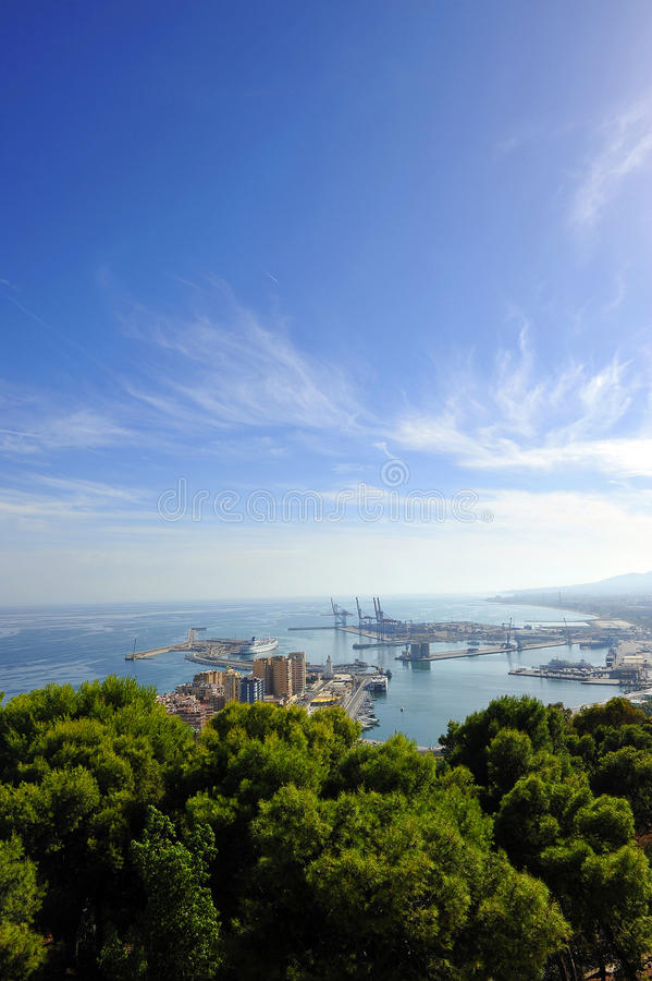 Panoramic view of the port of Malaga, Andalusia, Spain royalty free stock images