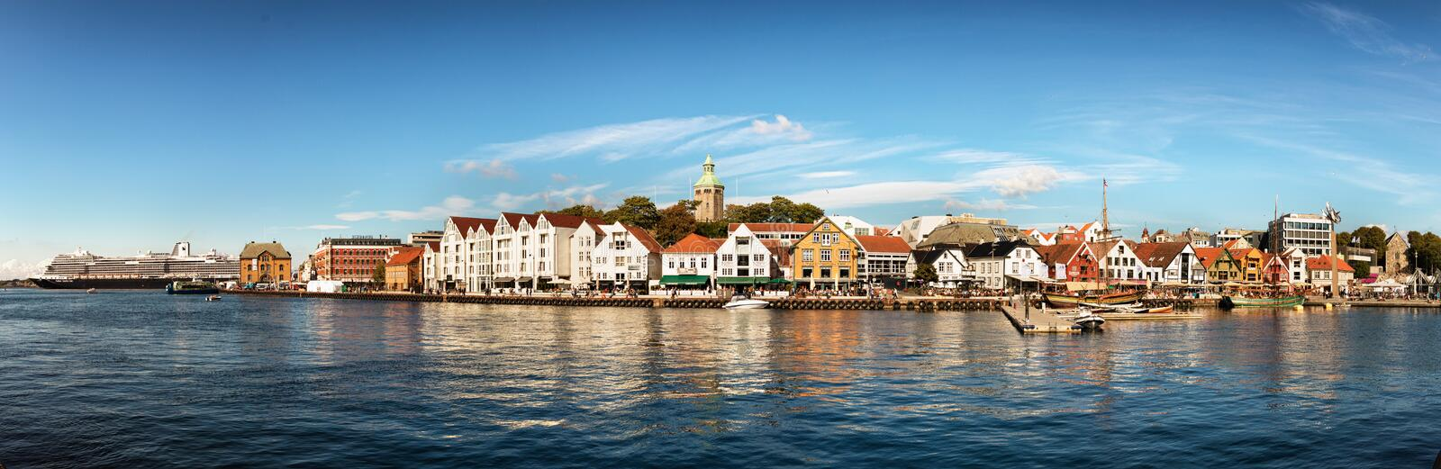 Panoramic view of the Port, marina and city center of Stavanger, Norway royalty free stock photos