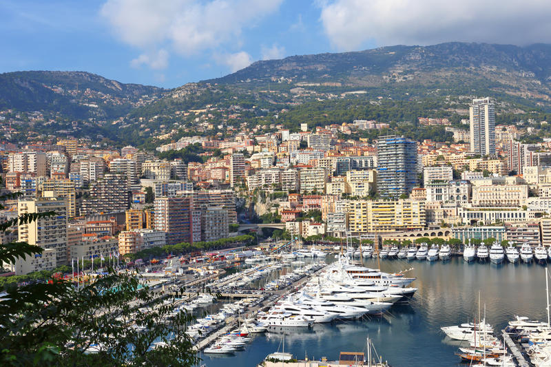 Panoramic view of the port in Monte Carlo, Monaco. Principality of Monaco is a sovereign city state, located on the French Riviera stock photography