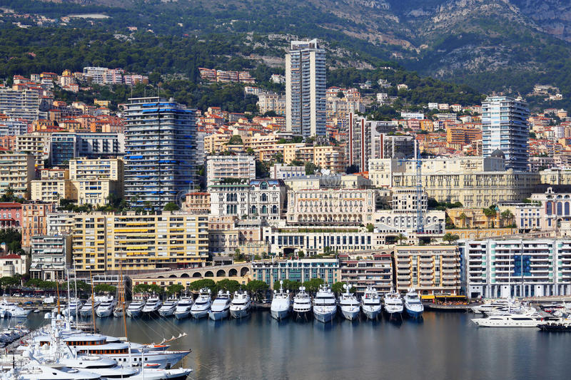 Panoramic view of the port in Monte Carlo, Monaco. Principality of Monaco is a sovereign city state, located on the French Riviera stock images