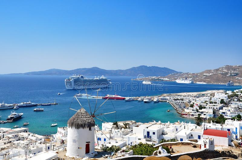 Panoramic view from the port of Mykonos Island. royalty free stock image