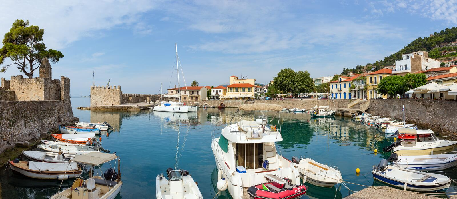 Panoramic view of the port, Nafpaktos, Greece. Nafpaktos is a town and a former municipality in Aetolia-Acarnania, Greece royalty free stock images