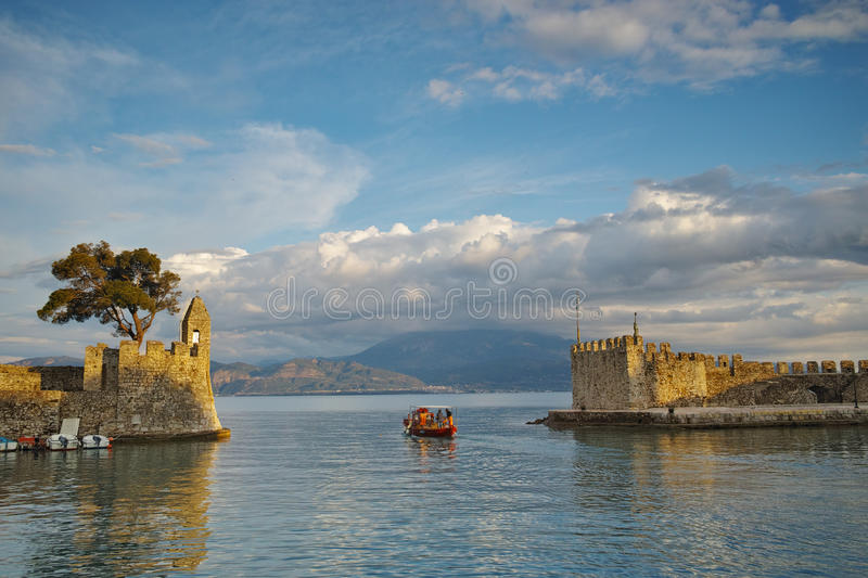 Panoramic view of the port of Nafpaktos town, Greece. Panoramic view of the port of Nafpaktos town, Western Greece royalty free stock photo