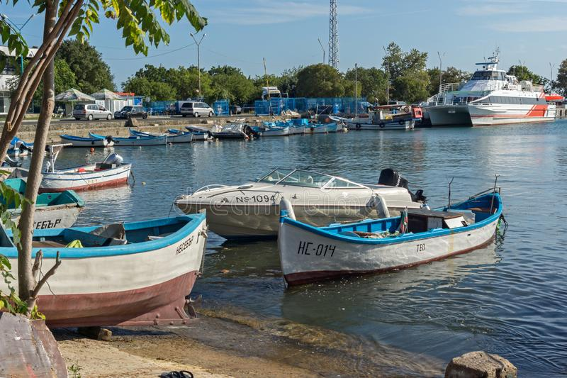 Panoramic view of Port and old town of Nessebar, Burgas Region, Bulgaria stock photos