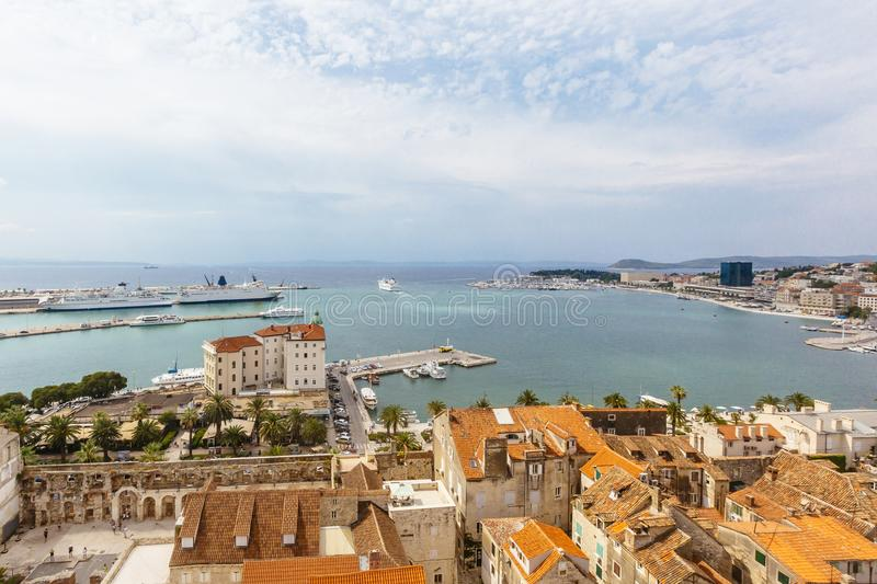 View of the Port of Split, Croatia, with Cruise Ships stock photography