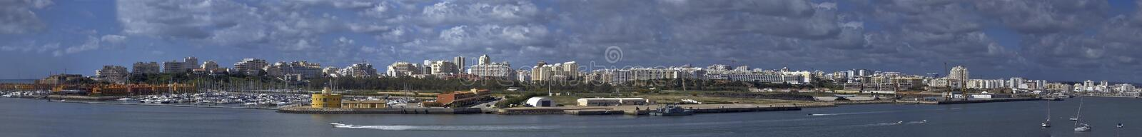 Panoramic view at Portimao city in Portugal stock images