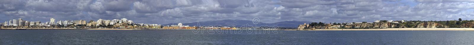Panoramic view at Portimao city in Portugal royalty free stock photos
