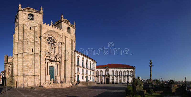 Panoramic view of Porto Cathedral, Portugal stock images