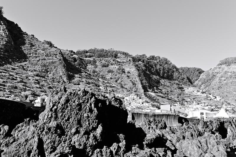 Panoramic view of Porto Moniz, a small village in the Atlantic coast of Madeira island with terraced fields royalty free stock photos