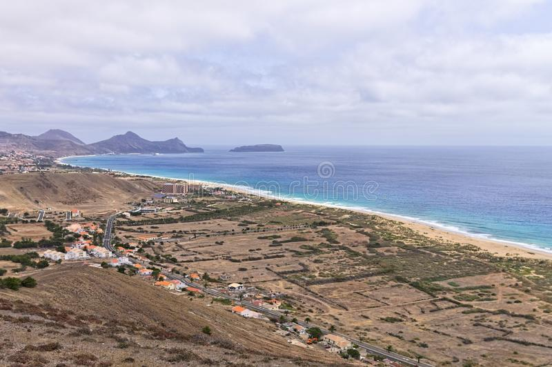 Panoramic view of Porto Santo beach Madeira Islands,Portugal. Panoramic view of Porto Santo beach Madeira Islands, Portugal royalty free stock photo
