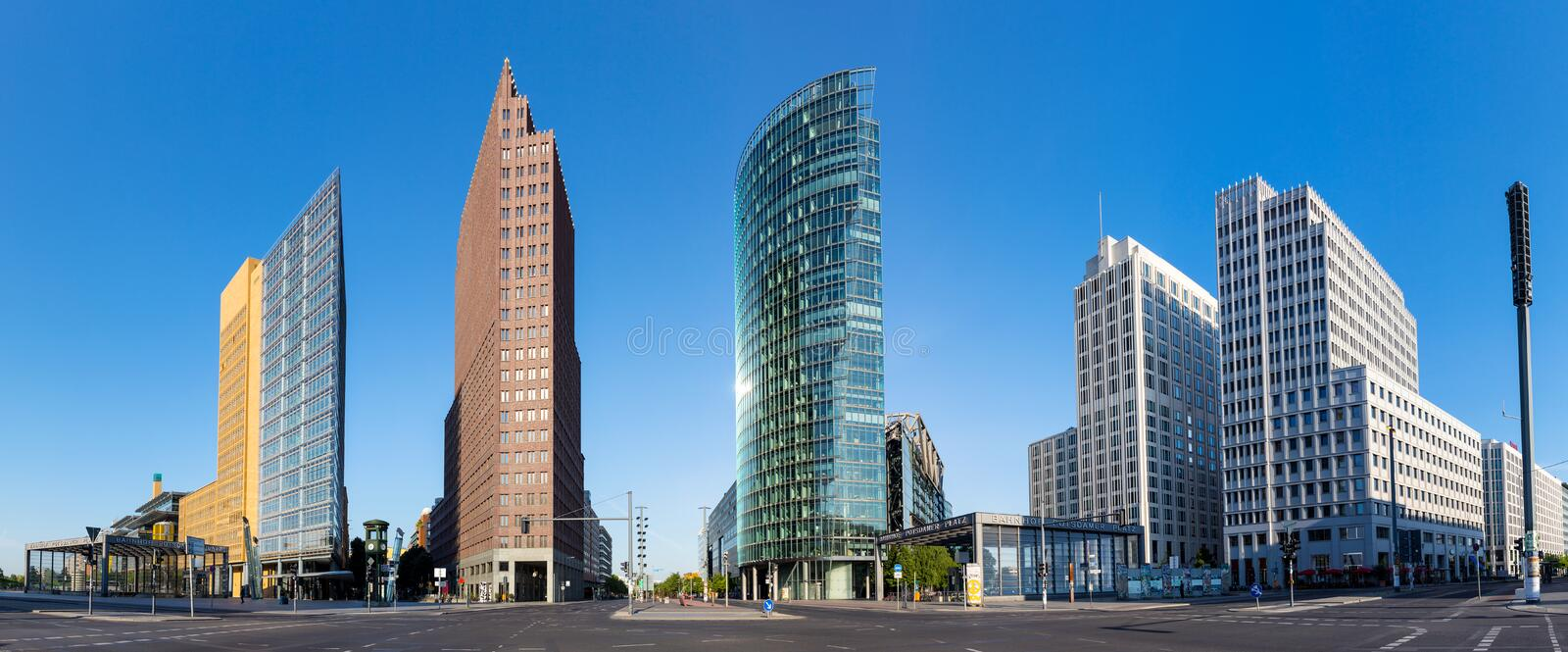 Panoramic view on Potsdamer Platz in Berlin royalty free stock image