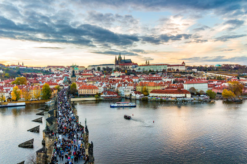 Panoramic view of Prague Castle and Lesser Town from Lesser Town Bridge Tower (Charles Bridge) royalty free stock photos