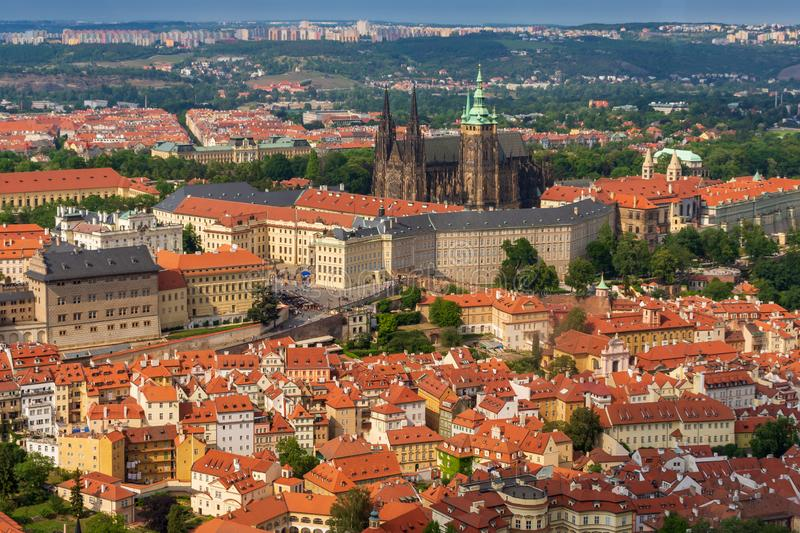 Panoramic view of Prague castle, St. Vitus Cathedral and old town from above, Czech Republic stock photo