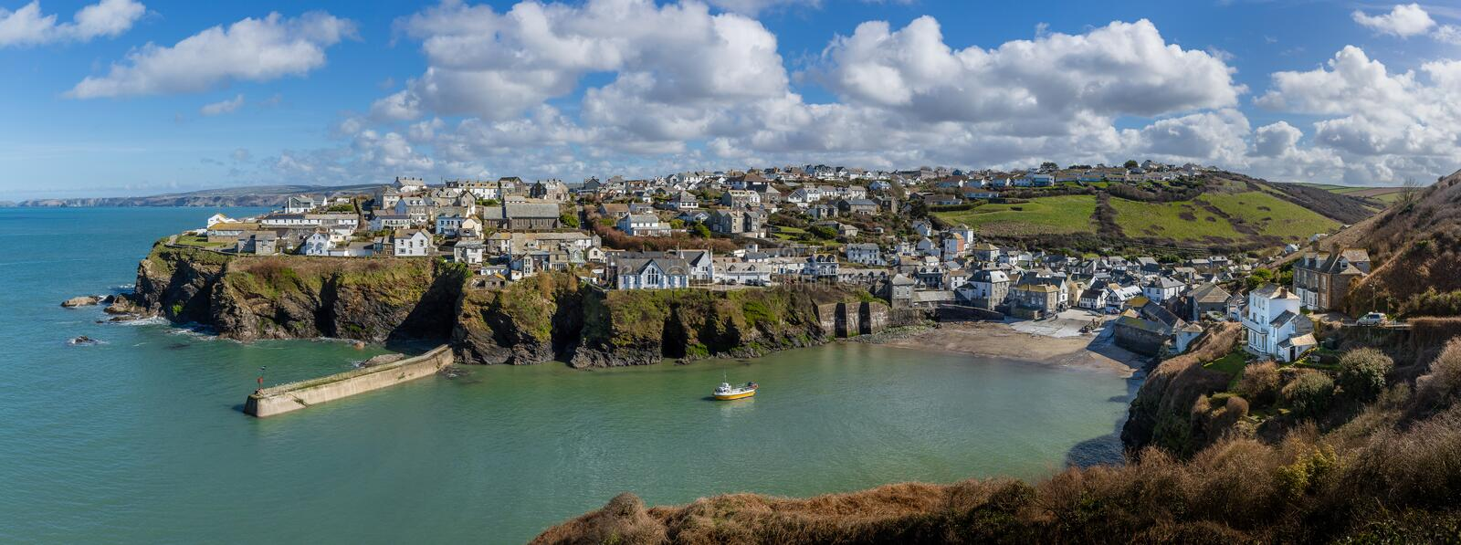 Panoramic view of the pretty fishing harbour of Port Issac in Cornwall, UK royalty free stock photo