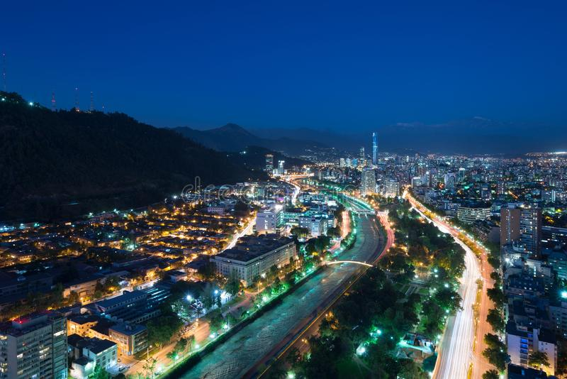 Panoramic view of Providencia and Las Condes districts and Bellavista Neighborhood in Santiago royalty free stock photo