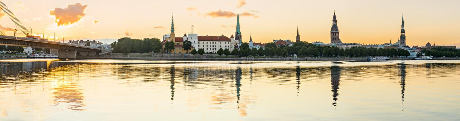 Panoramic view from a public domain embankment on old Riga city, Europe stock photography