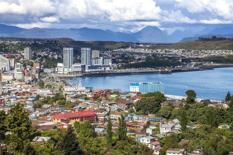 Panoramic view of Puerto Montt, Chile. royalty free stock photos