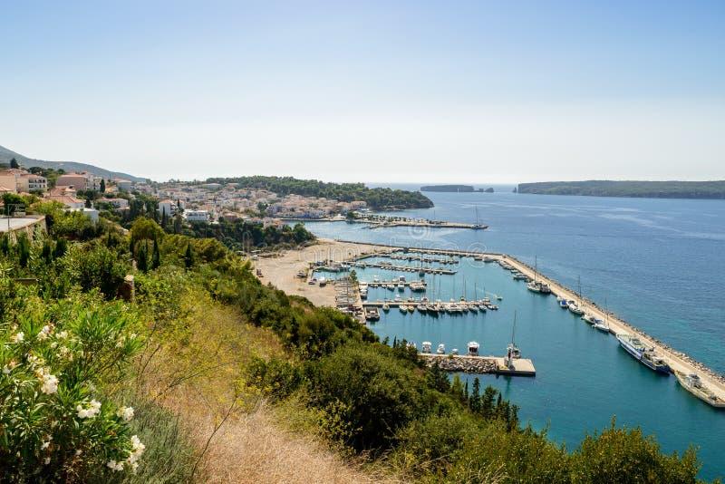 Panoramic view of Pylos. The marina, Navarinou bay and Sphacteria island stock image