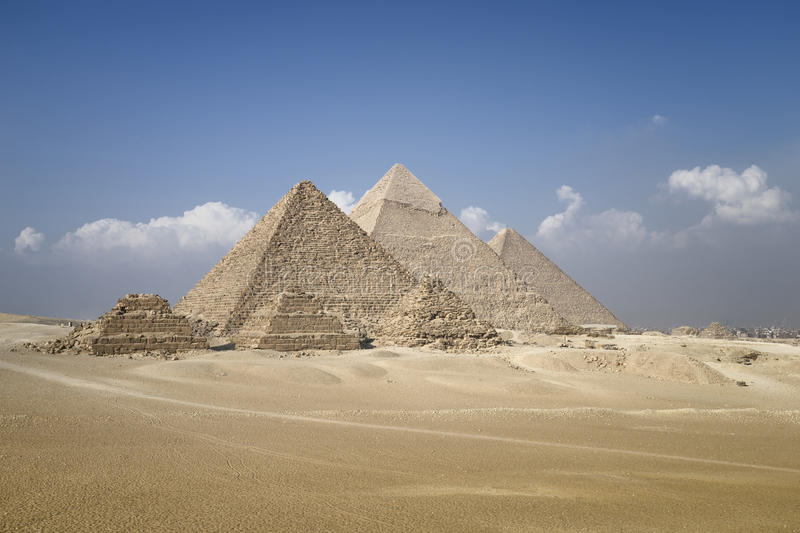 Panoramic view of pyramids from the Giza Plateau stock photography