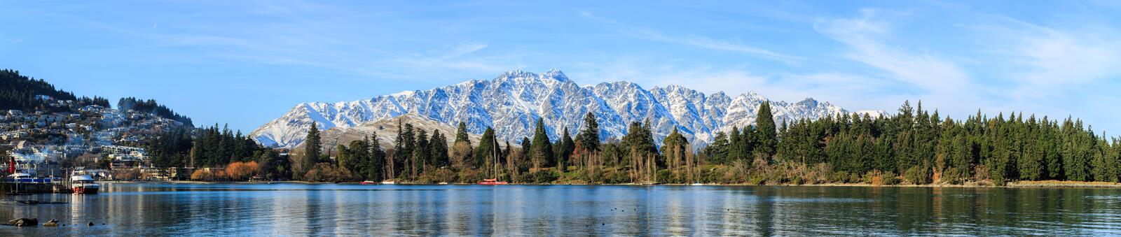 Panoramic view of Queenstown. Queenstown adventure capital of the world, New Zealand stock photo