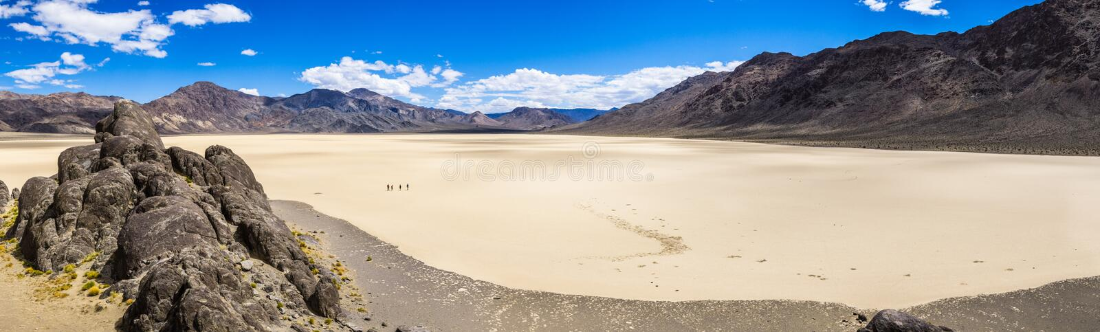 Panoramic view of the Racetrack Playa taken from the Grandstand; Death Valley National Park, California stock photo