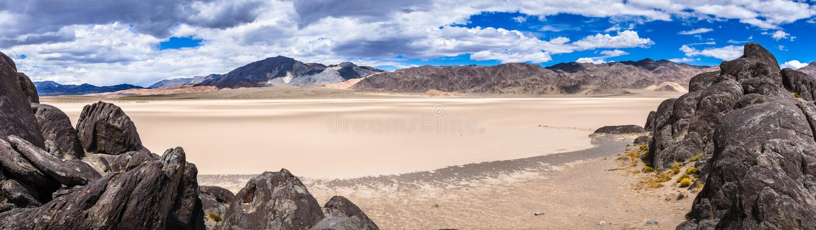 Panoramic view of the Racetrack Playa taken from the Grandstand, Death Valley National Park, California royalty free stock images