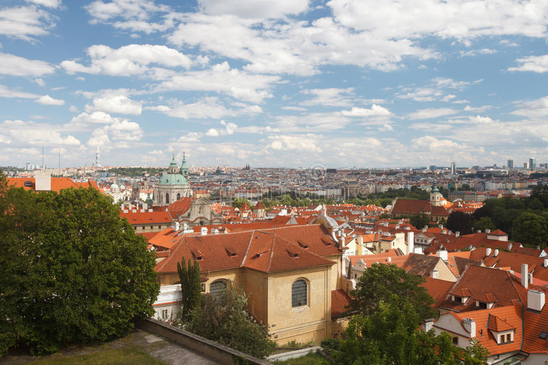 Panoramic view of Red roofs in the city Prague is beautiful town. Czech Republic stock photo
