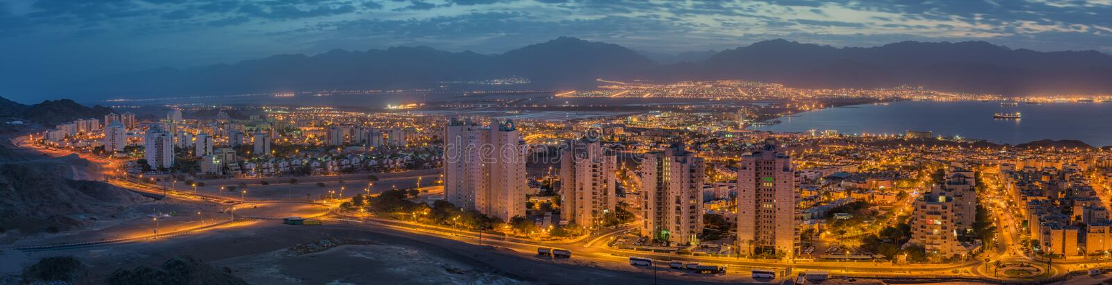 Panoramic view on the Red sea, Aqaba and Eilat royalty free stock photos