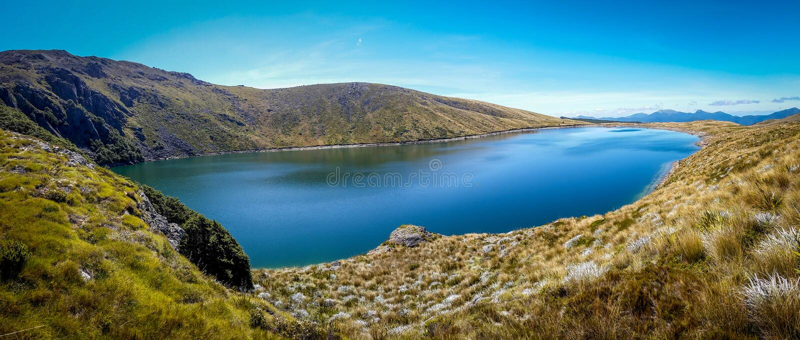 Panoramic view of a reflecting lake stock photo