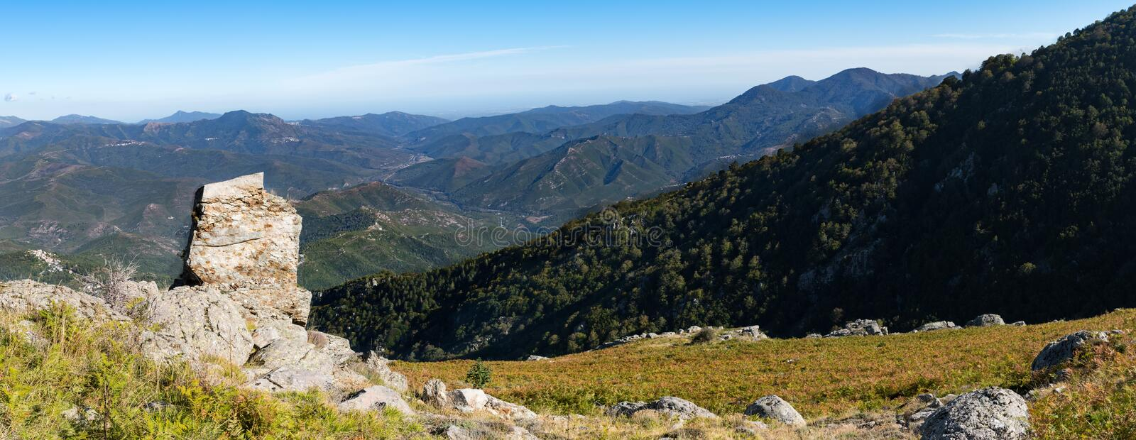Panoramic view of the Regional Natural Park of Corsica, taken in central Corsica on the slopes of Monte Cardo stock photo