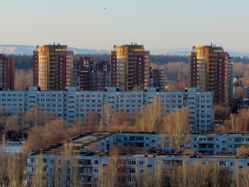 Panoramic view of residential apartment buildings in the Avtozavodsky district of the city of Togliatti. The frame was taken from the height of the 16th floor royalty free stock photos