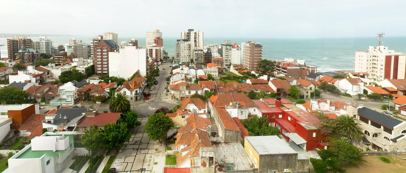 Residential area by the sea in Mar del Plata, Argentina. Panoramic view of a residential area by the sea. Mar del Plata, Buenos Aires, Argentina stock photos