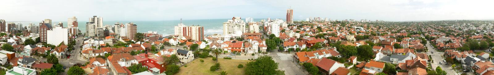 Residential area by the sea in Mar del Plata, Argentina. Panoramic view of a residential area by the sea. Mar del Plata, Buenos Aires, Argentina royalty free stock photo