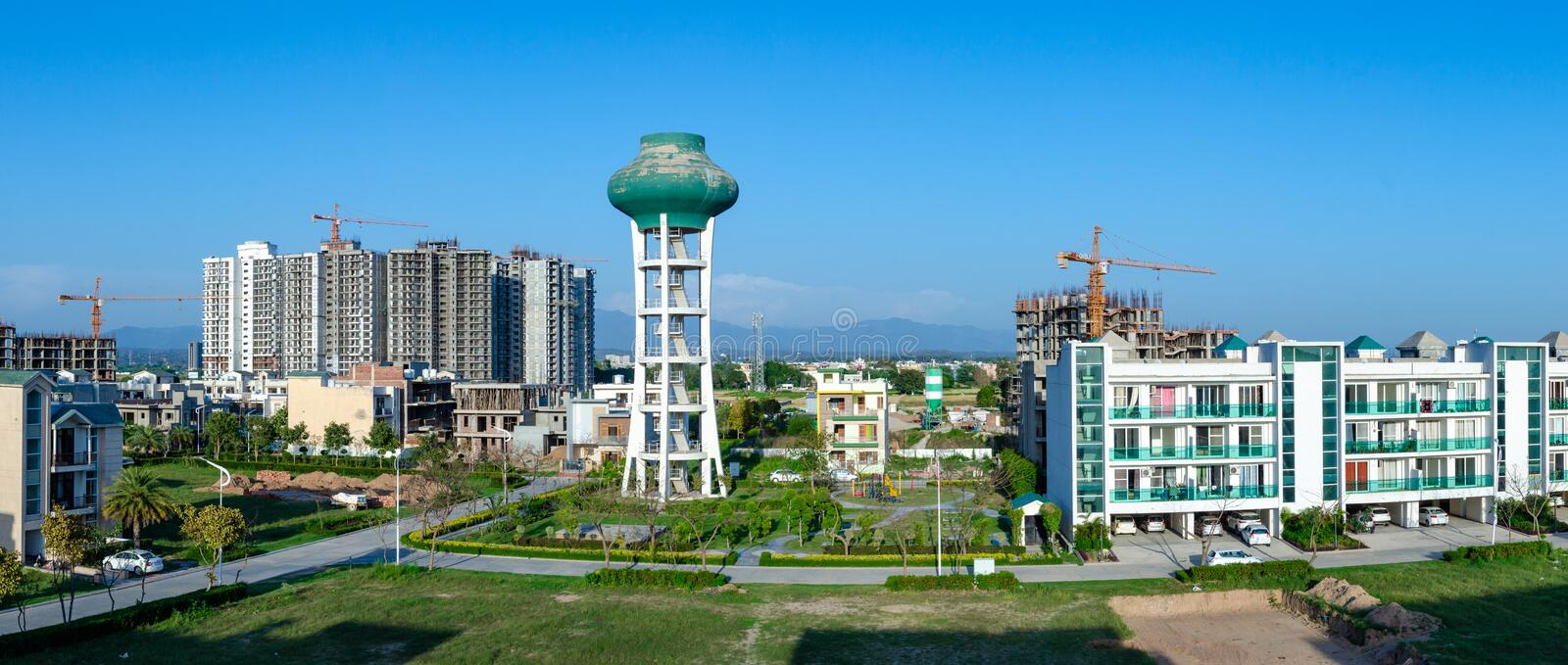 Panoramic View of Residential Society. India royalty free stock image