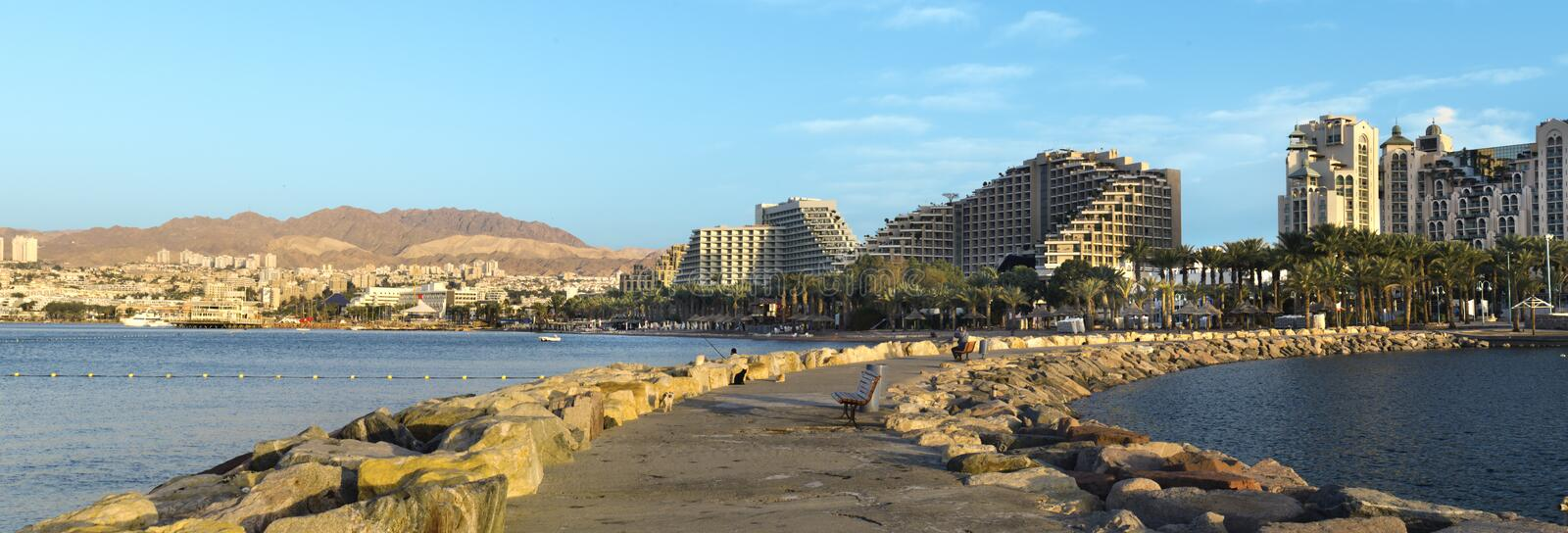 Panoramic view on resort hotels, Eilat, Israel. This shot was taken on the northern beach of Eilat, Israel stock images