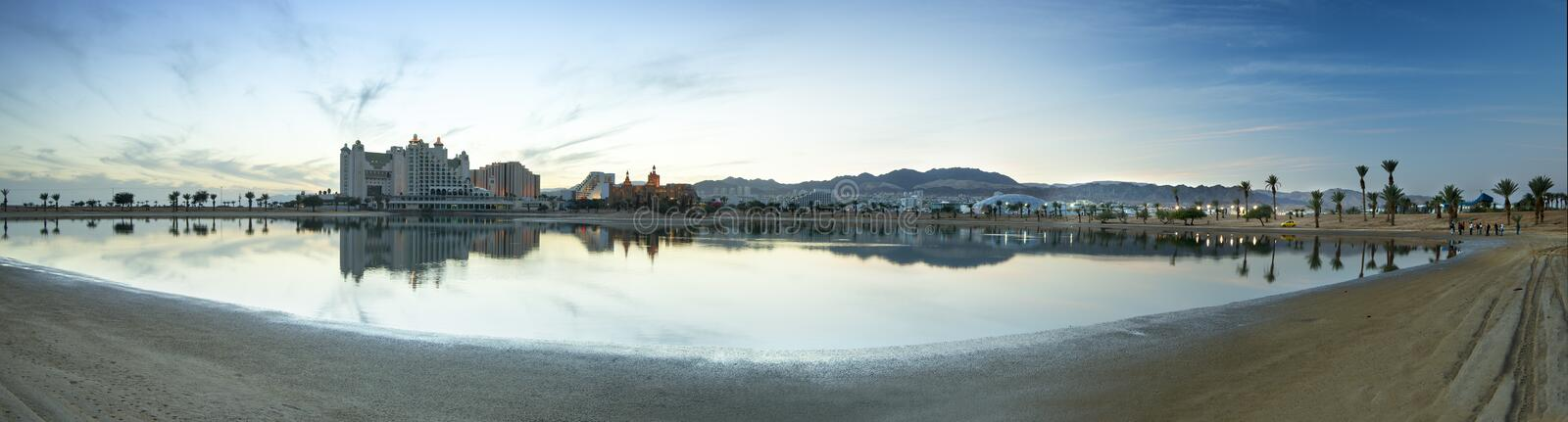 Panoramic view on resort hotels of Eilat, Israel stock photos