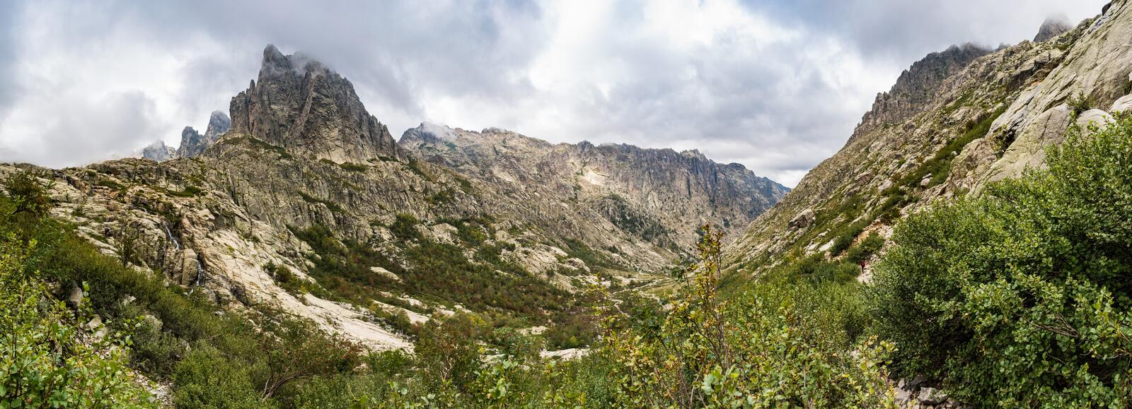 Panoramic view of the Restonica valley in front of Lombarduccio, a 2261m high mountain in Corsica. royalty free stock image