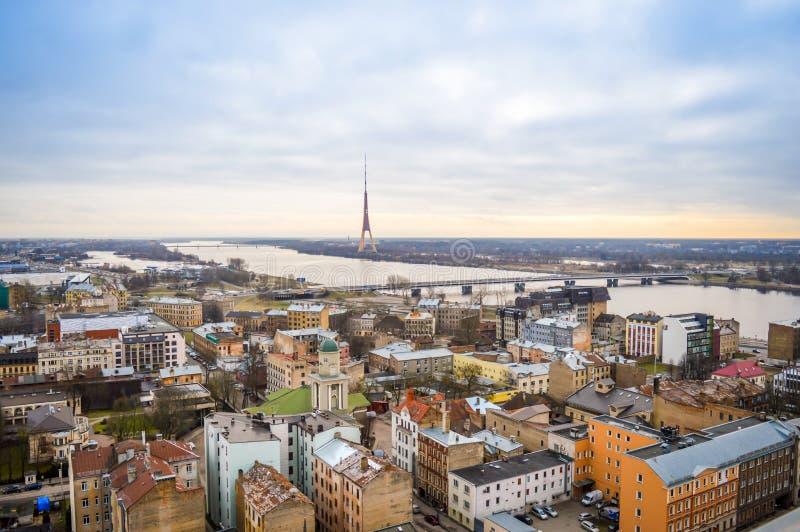 Panoramic view of Riga city, Latvia stock photography