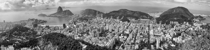 Panoramic view of Rio citycsape black and white. A panoramic view of cityscape from the Mirante Dona Marta peak in Rio de Janeiro, Brazil royalty free stock photography