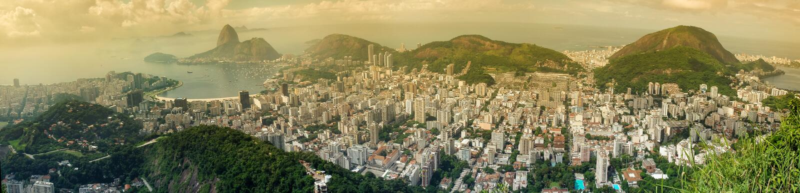Panoramic view of Rio citycsape. A panoramic view of cityscape from the Mirante Dona Marta peak in Rio de Janeiro, Brazil stock image