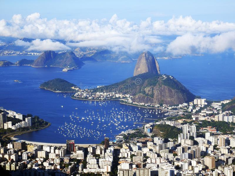 A panoramic view of Rio de Janeiro, Brazil. Including Sugar Loaf and Guanabara Bay an Botafogo. the picture is taken from Mirante Dona Marta stock photos