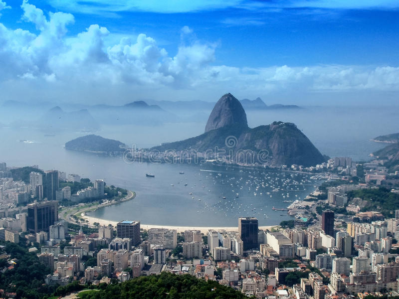 Panoramic view of Rio de Janeiro citycsape. A panoramic view of cityscape from the Mirante Dona Marta peak in Rio de Janeiro, Brazil royalty free stock photos