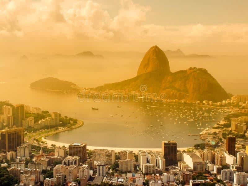 Panoramic view of Rio de Janeiro. A panoramic view of cityscape from the Mirante Dona Marta peak in Rio de Janeiro, Brazil royalty free stock photo