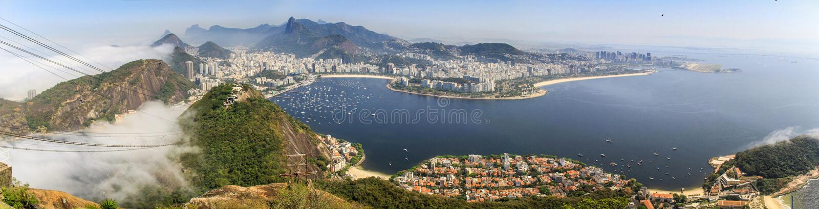 Panoramic view of Rio de Janeiro from the Sugarloaf, Rio de Janeiro, Brazil. Sugarloaf Mountain (Portuguese: Pão de Açúcar) is a peak situated in Rio de royalty free stock photography